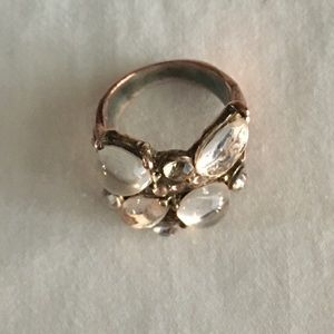 Copper and glass costume jewelry ring